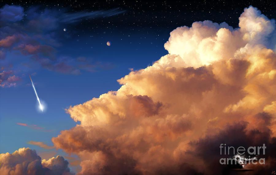 Jupiter Painting - Jupiters Stormy Sunset by Tharsis Artworks