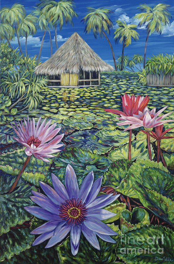 Tiki Hut Painting - Just A Dream by Danielle  Perry