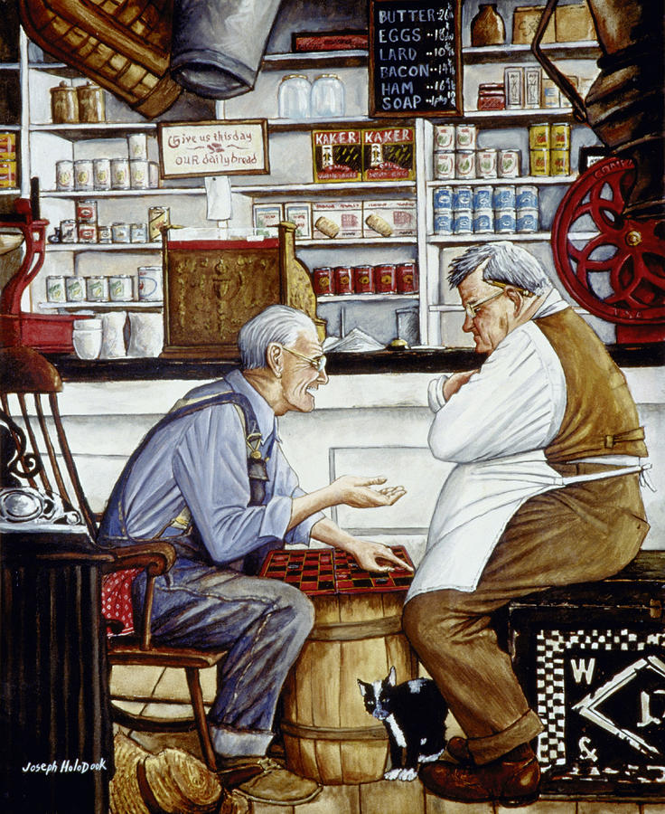 Norman Rockwell Painting - Just A Friendly Game by Joseph Holodook