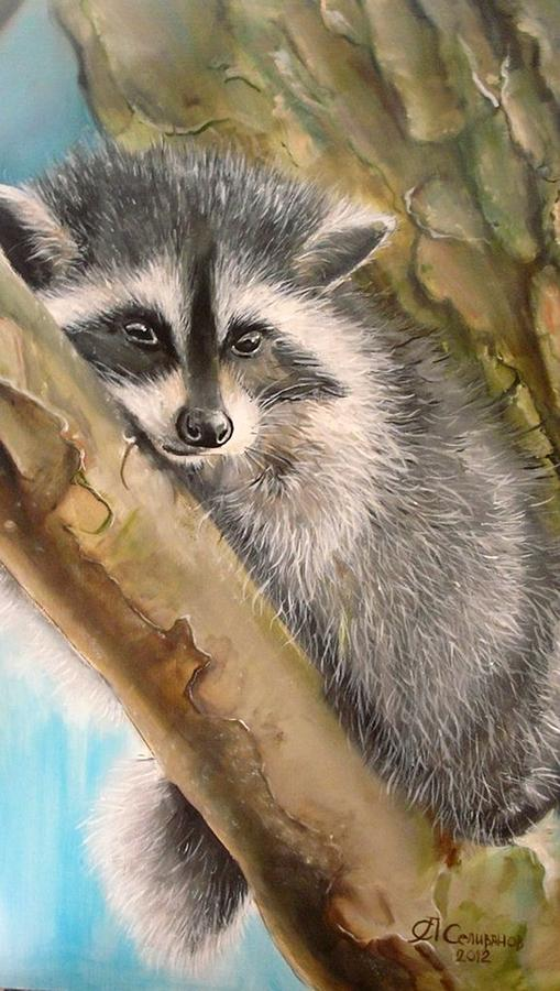 Animal Painting - Just A Raccoon by Sergey Selivanov