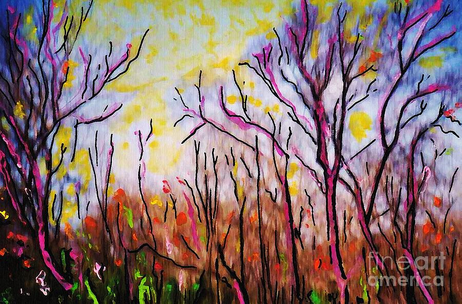 Trees Painting - Just Across The River by Sarah Loft