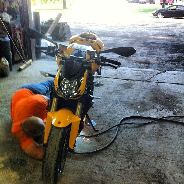 Streetfighter Photograph - Just An Oil Change At My Local Ducati by Andrew Plonski
