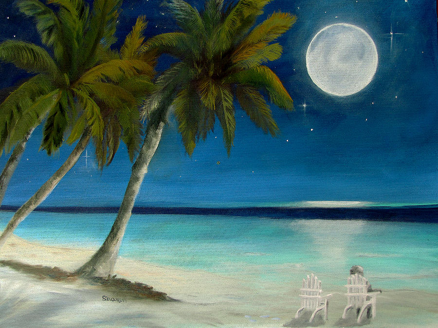 Full Moon Painting - Just Beyond The Moon by Sharon Burger