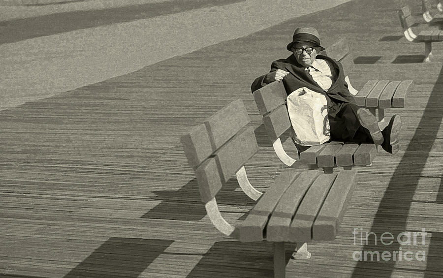 Man On Bench Photograph - Just Chilling by Jeff Breiman