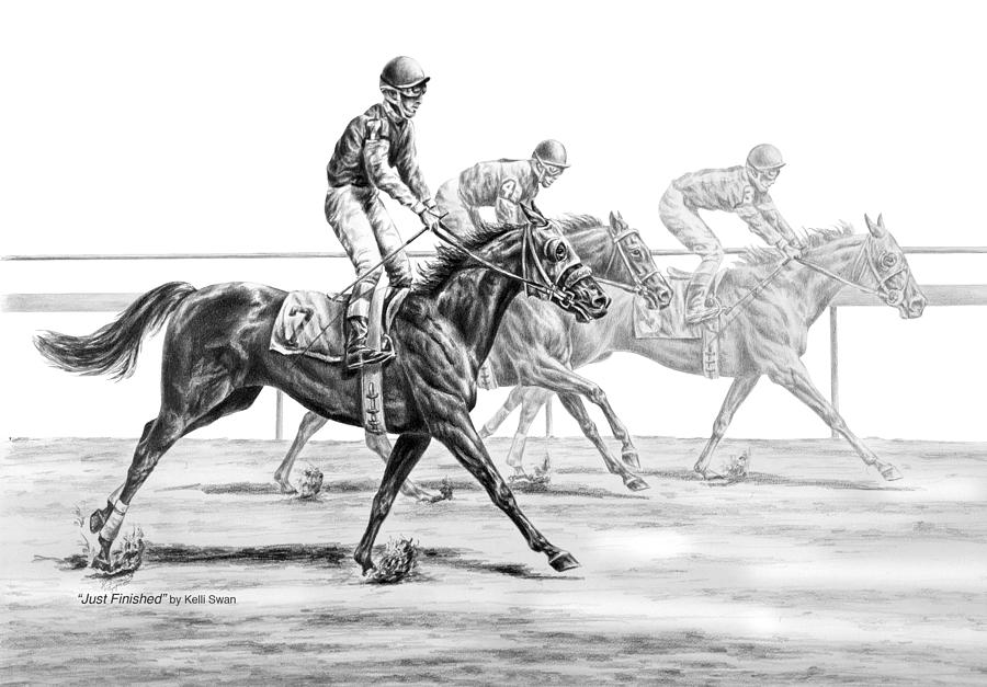 Just Finished - Horse Racing Print by Kelli Swan