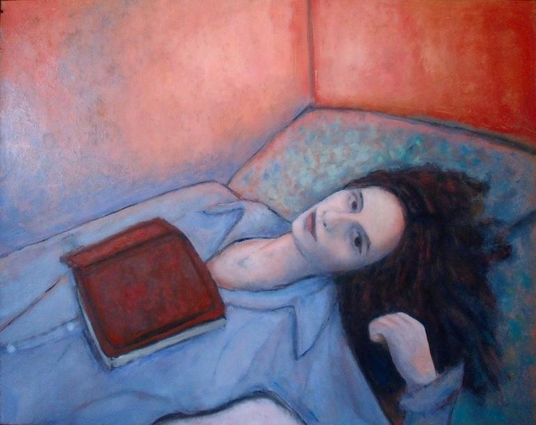 Woman Painting - Just Finished by Massimiliano Ligabue