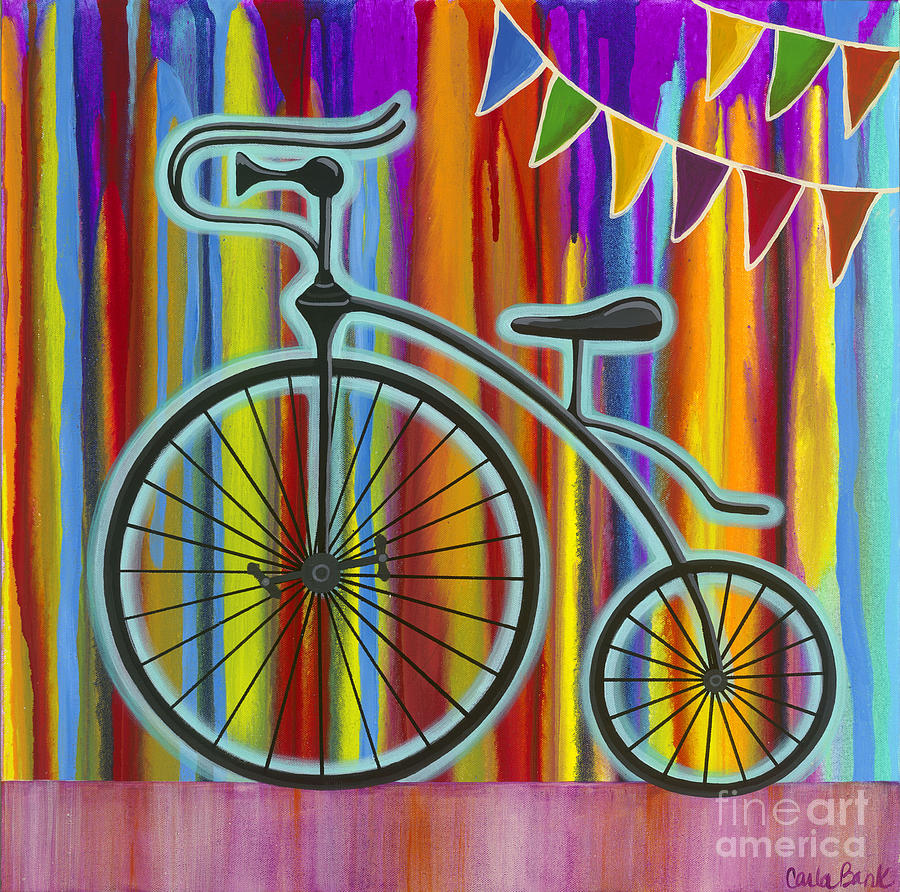 Bike Painting - Just Keep Going by Carla Bank