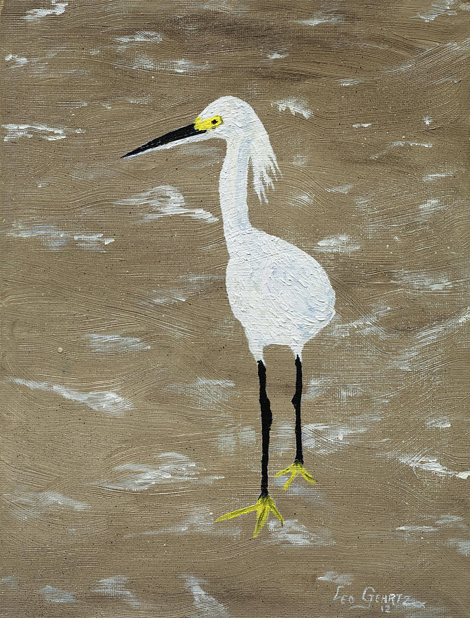 Heron Painting - Just Keep Walking by Leo Gehrtz