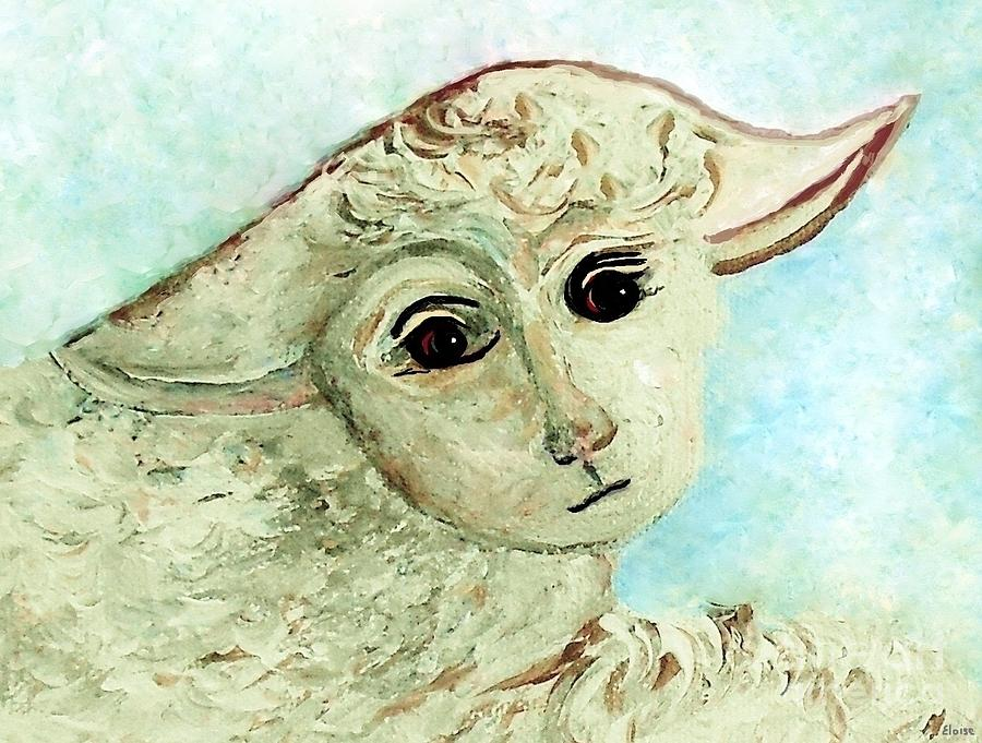 Lamb Painting - Just One Little Lamb by Eloise Schneider