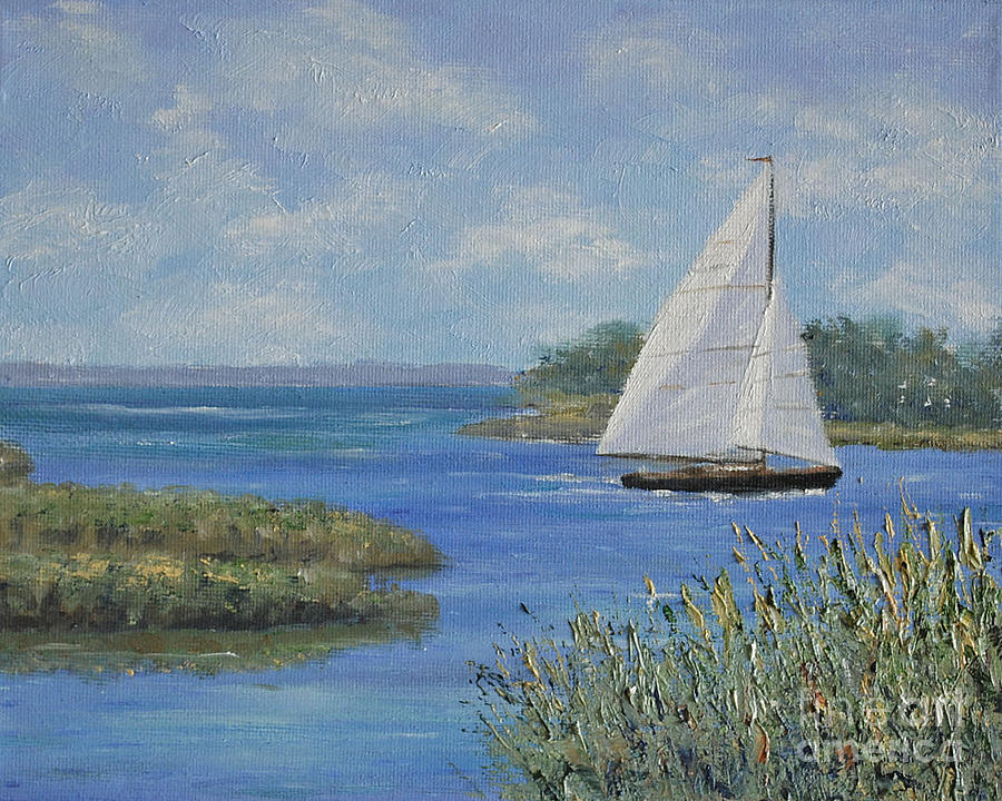 Sailboat Painting - Just Passing Through by Stanton Allaben