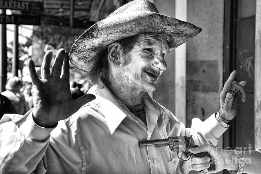 Mime Photograph - Just Shoot Me Said The Cowboy- Black And White by Kathleen K Parker