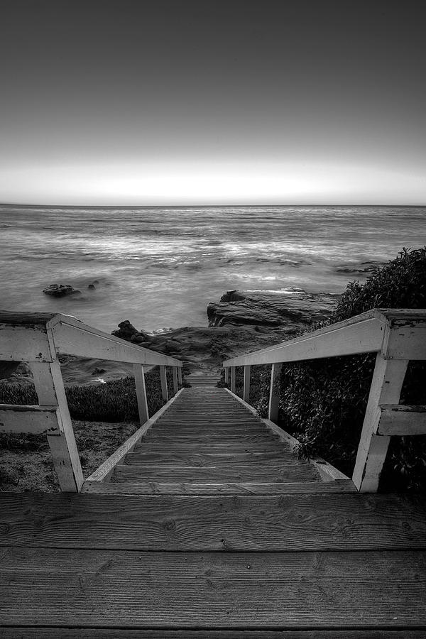 California Photograph - Just Steps To The Sea    Black And White by Peter Tellone