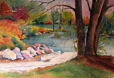 Water Painting - Just Waiting by Barbara Seibel