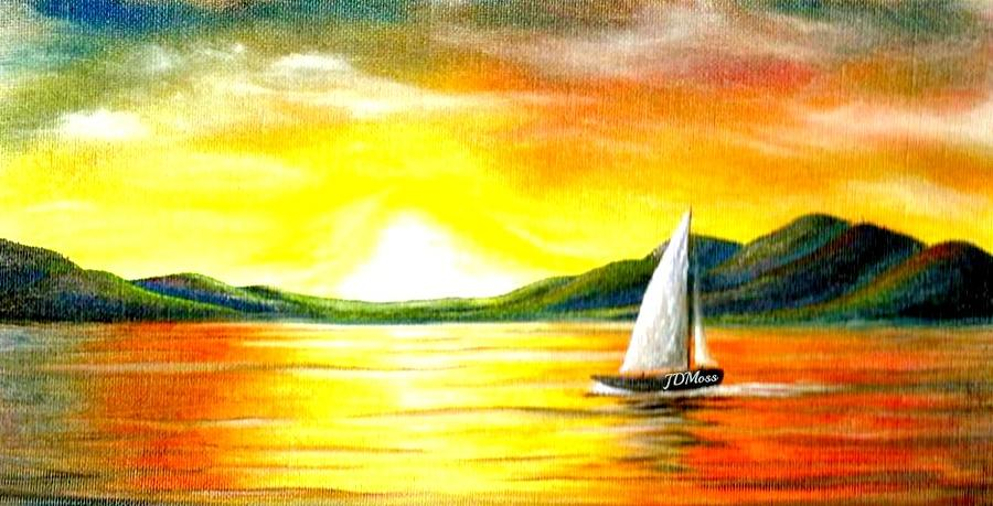 Sunset Painting - Justa Sailing by Janet Moss