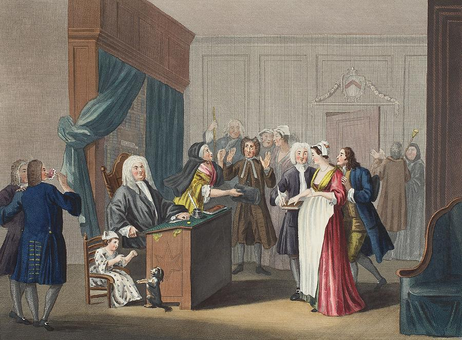 Courtroom Drawing - Justice Triumphs, Illustration by William Hogarth