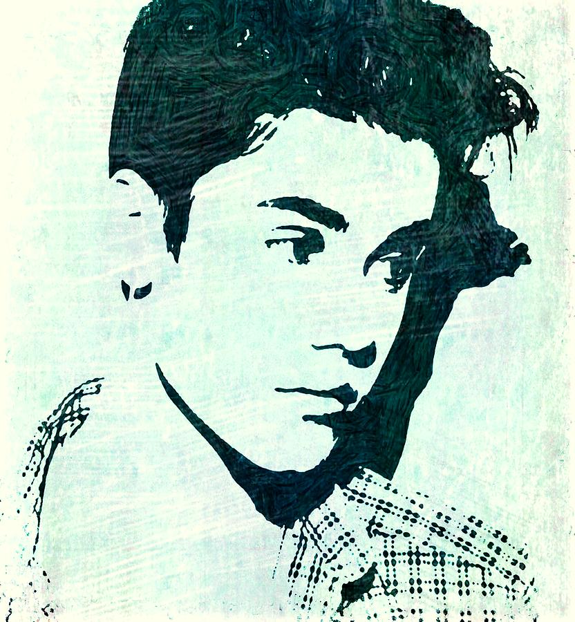 Justin Bieber Mixed Media - Justin Bieber In Blues by ABA Studio Designs