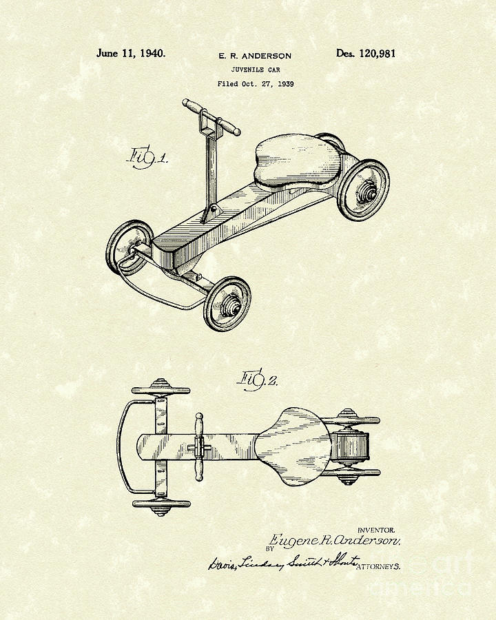 Anderson Drawing - Juvenile Car 1940 Patent Art by Prior Art Design