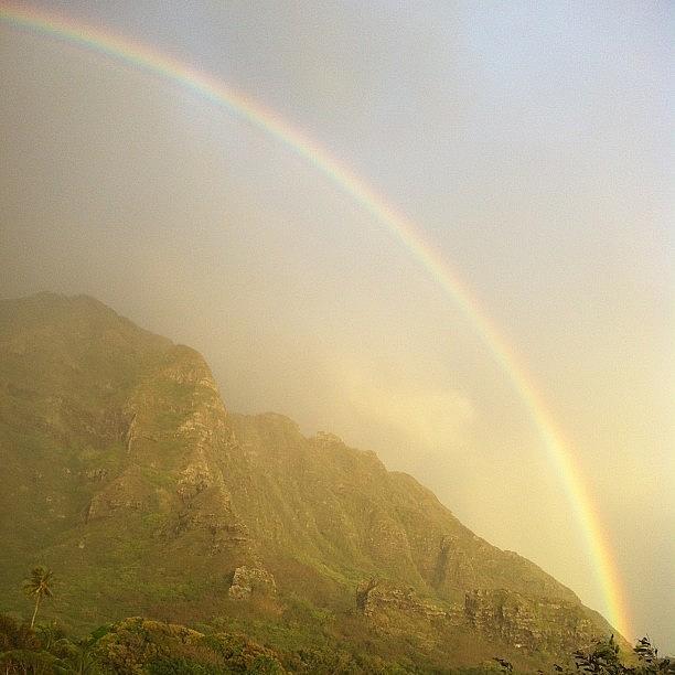 Rainbow Photograph - Kaaawa Rainbow #hawaii #oahu #rainbow by Brian Governale