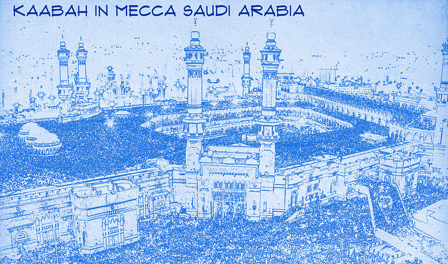 Kaabah in mecca saudi arabia blueprint drawing digital art by painting digital art kaabah in mecca saudi arabia blueprint drawing by motionage designs malvernweather Image collections