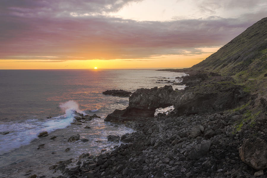 Sunsets Photograph - Kaena Point Sea Arch Sunset - Oahu Hawaii by Brian Harig