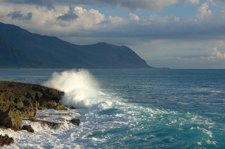 Kaena Point State Park Crashing Wave Photograph - Kaena Point State Park Crashing Wave - Oahu Hawaii by Brian Harig
