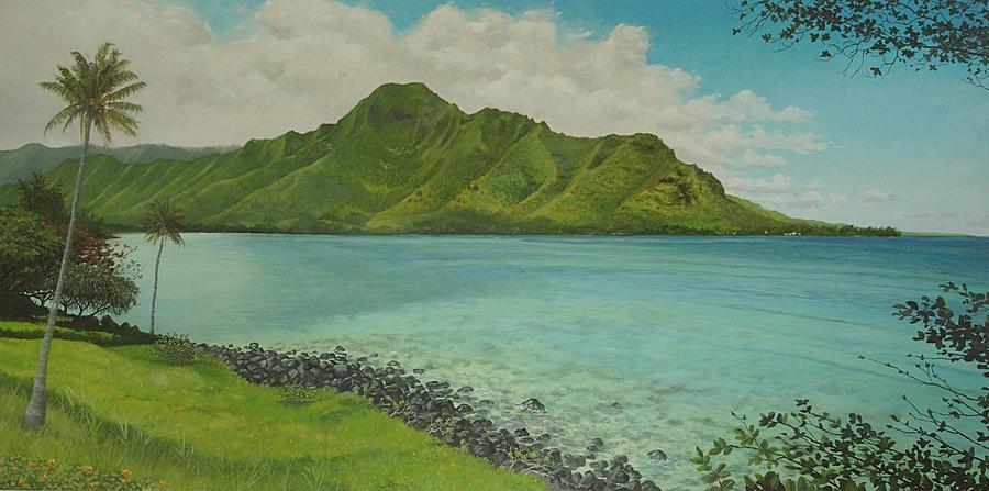 Kahana Painting - Kahana Bay by Wallace Kong