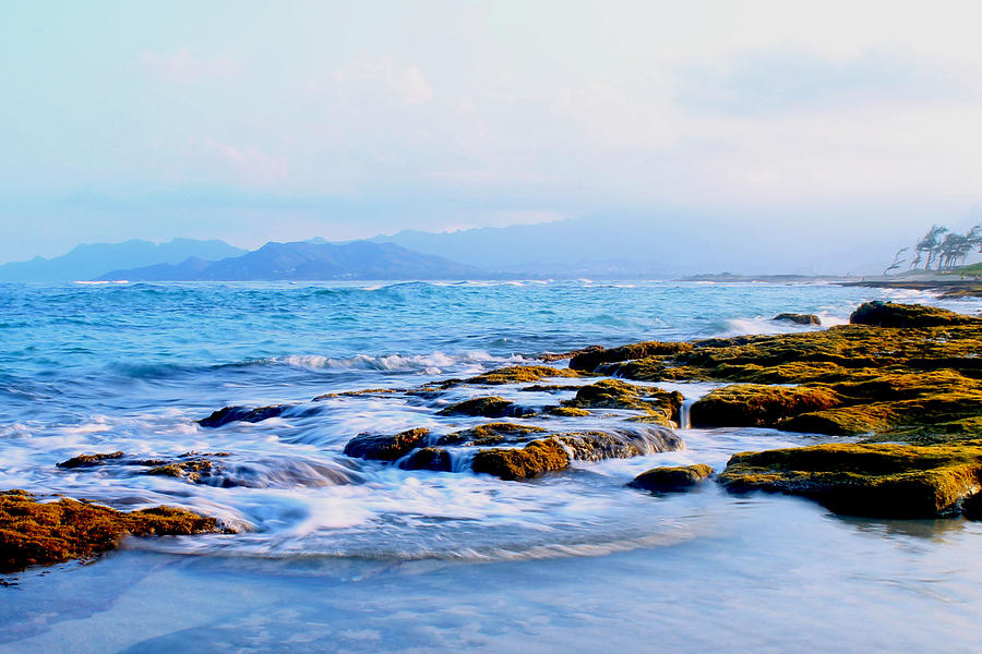Ocean Photograph - Kailua Bay Shoreline by Saya Studios