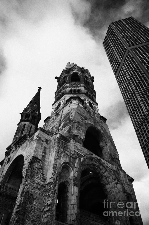 Berlin Photograph - Kaiser Wilhelm Gedachtniskirche Memorial Church Next To The New Church Berlin Germany by Joe Fox