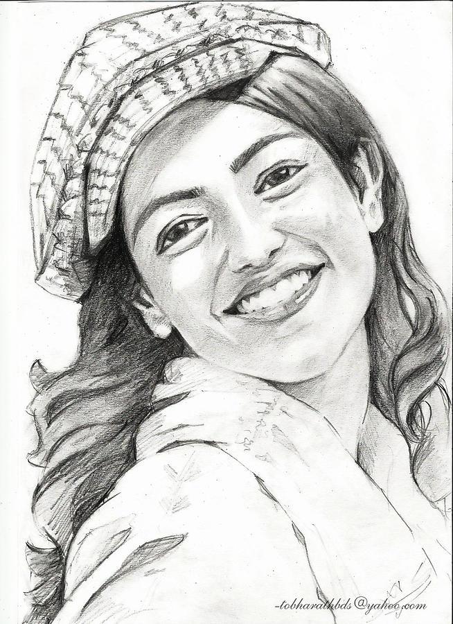 Kajal Aggarwal Drawing By Bharath Reddy