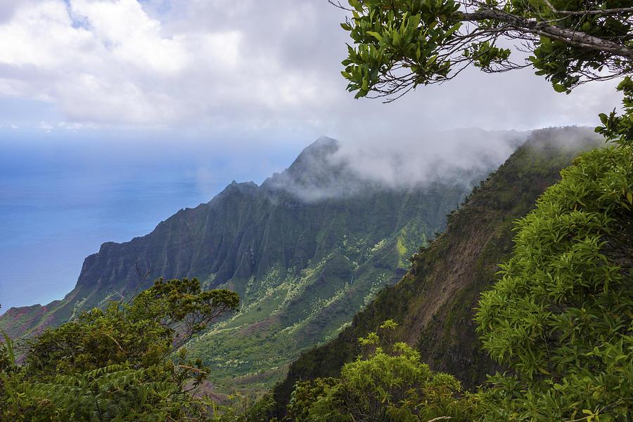 Kalalau Valley Lookout Kauai Hawaii Mountain Landscape Photograph - Kalalau Valley 5 - Kauai Hawaii by Brian Harig