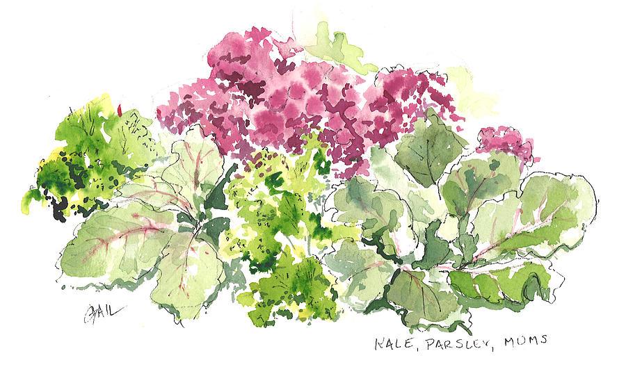 Kale Painting - Kale Parsley Mums by Gail Ishmael