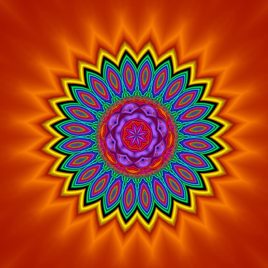 Kaleidoscope Digital Art - Kaleidoscope 1 Bright And Breezy by Faye Symons