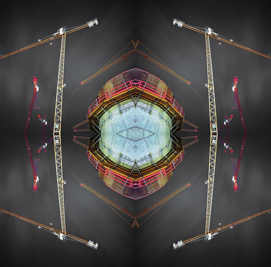 Kaleidoscope Construction Cranes Photograph by Silvia Otte