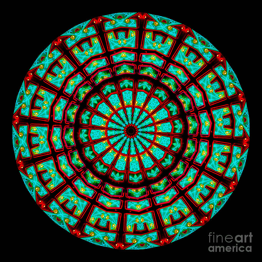 Abstract Digital Art - Kaleidoscope Of A Neon Sign by Amy Cicconi