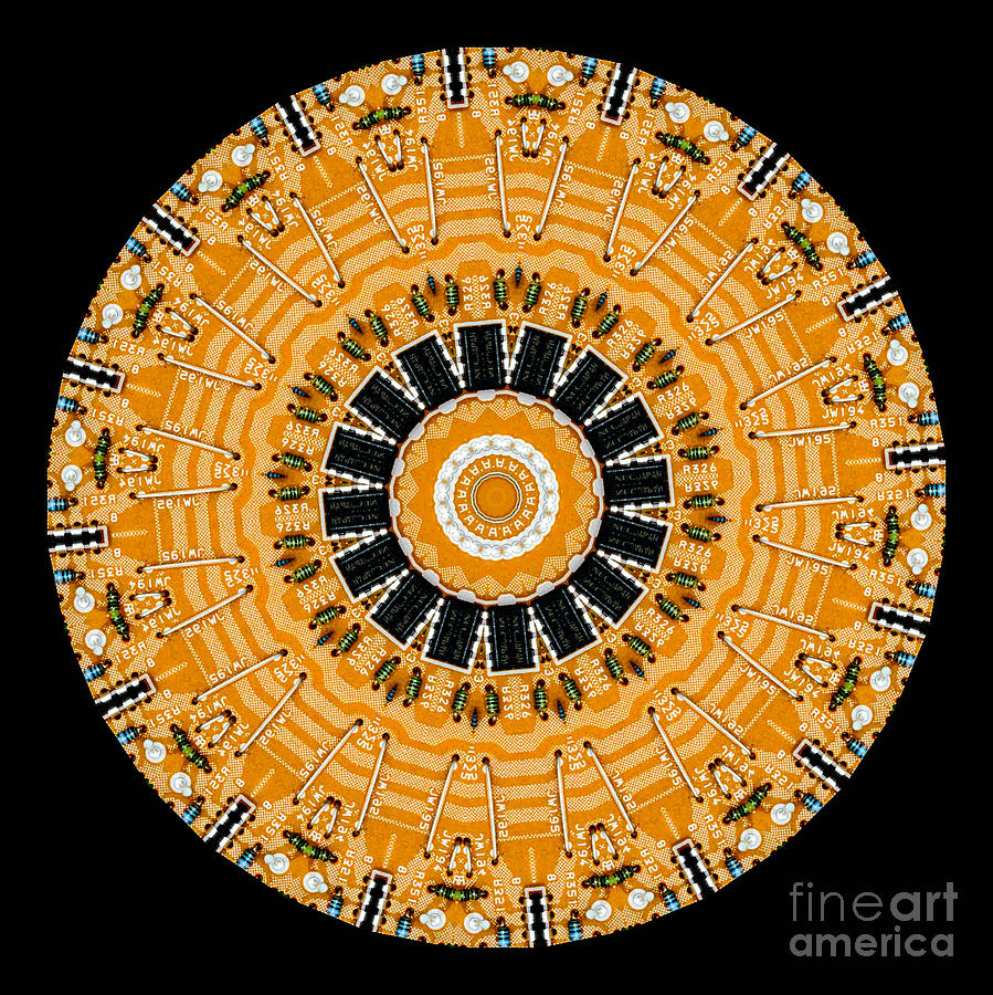 Abstract Digital Art - Kaleidoscope Of Computer Circuit Board by Amy Cicconi