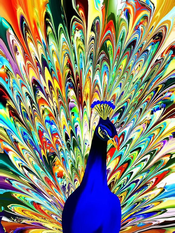 Acrylic Paintings Of Peacock On Black Background