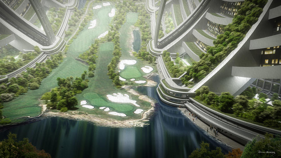 Space Station Digital Art - Kalpana One Golf Course by Bryan Versteeg