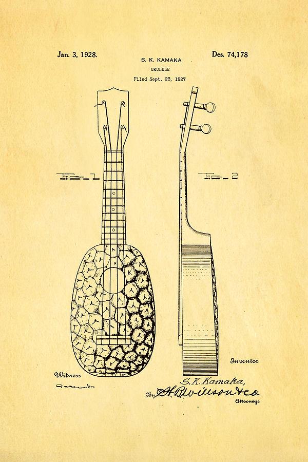 Famous Photograph - Kamaka Ukulele Patent Art 1928 by Ian Monk
