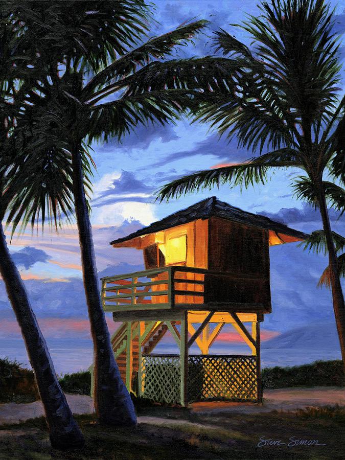 Kamaole Painting - Kamaole Beach - Nocturne by Steve Simon
