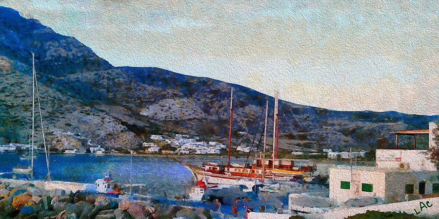Sifnos Island Painting - Kamares Port by Laurence Canter