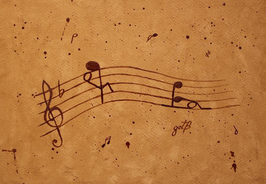 Abstract Music Painting - Kamasutra Abstract Music 2 Coffee Painting by Georgeta  Blanaru
