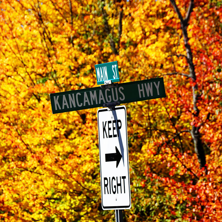 Kancamagus Photograph - Kancamagus Autumn Foliage Keep Right  by Luke Moore