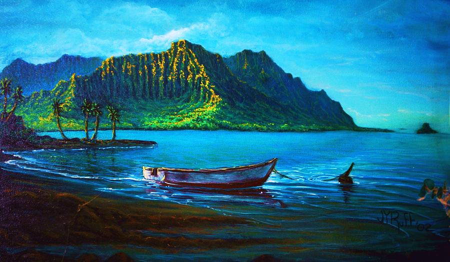 Kaneohe Bay Early Morn Painting by Joseph   Ruff