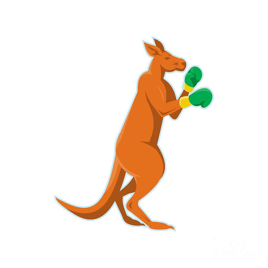 Kangaroo Digital Art - Kangaroo Boxer Boxing Retro by Retro Vectors