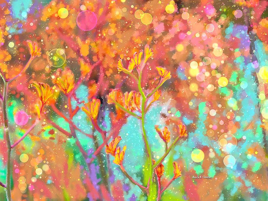 Kangaroo Flower In Spring Bubbles Painting