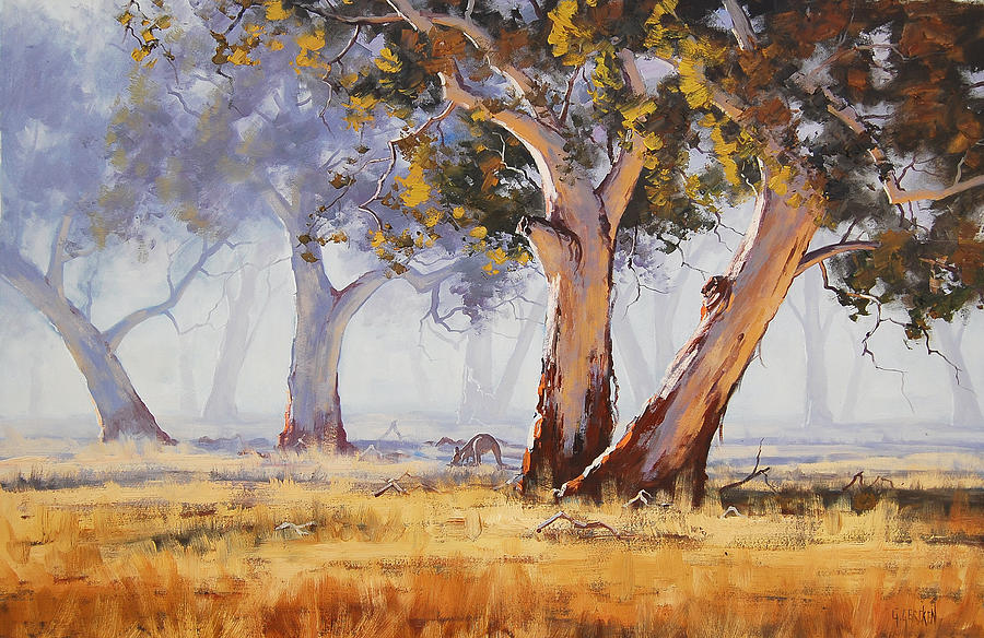 Eucalyptus Trees Painting - Kangaroo Grazing by Graham Gercken