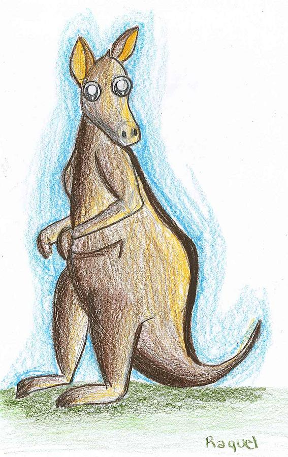 Kangaroo Drawing - Kangaroo From Down Under by Raquel Chaupiz