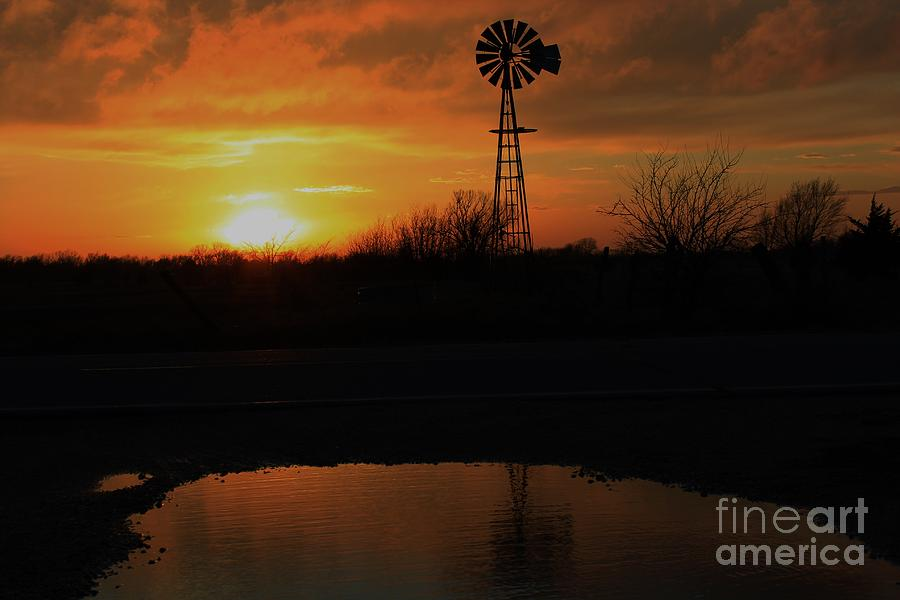 Windmill Photograph - Kansas Blaze Orange Sunset With Windmill And Water Reflection by Robert D  Brozek