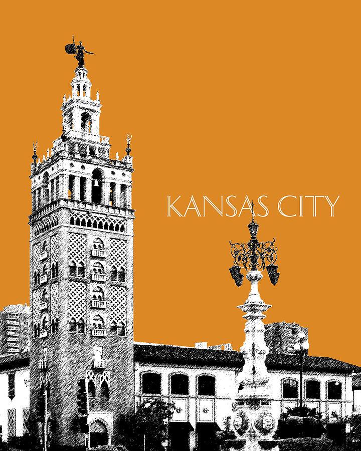 Architecture Digital Art - Kansas City Skyline 2 - Dark Orange by DB Artist