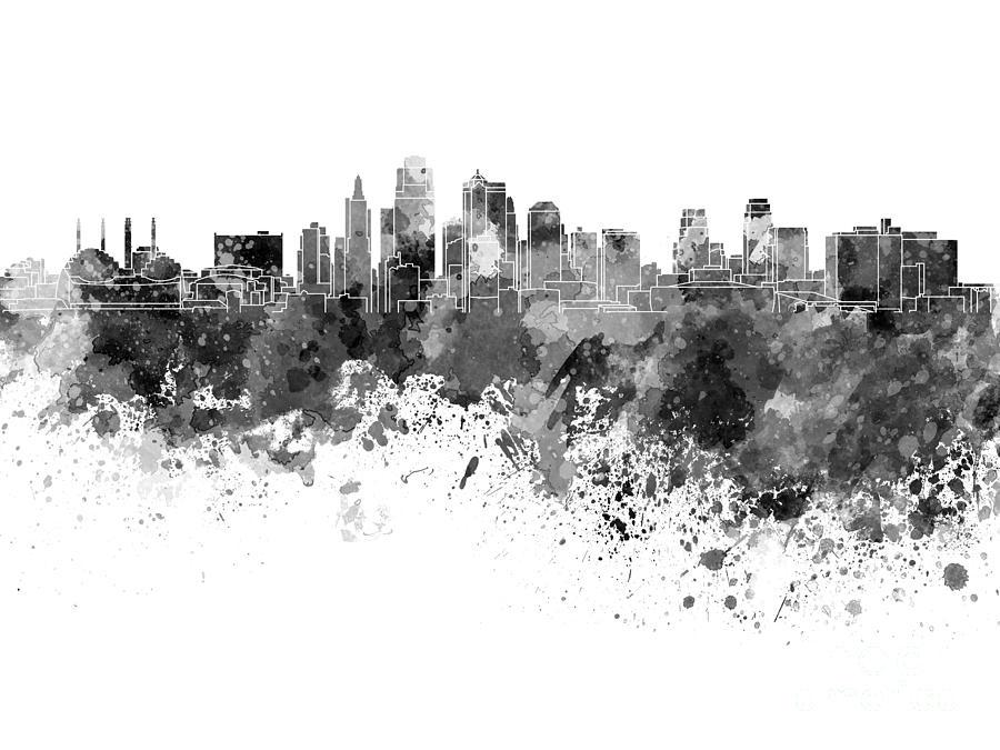 kansas city skyline in black watercolor on white